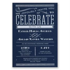 Big News - Navy - Foil Invitation