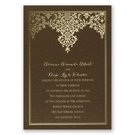 Demure Damask - Brown Shimmer - Foil Invitation