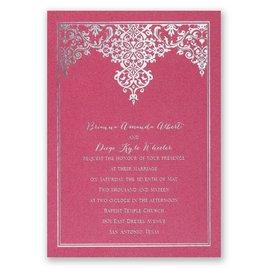 Demure Damask - Fuchsia Shimmer - Foil Invitation
