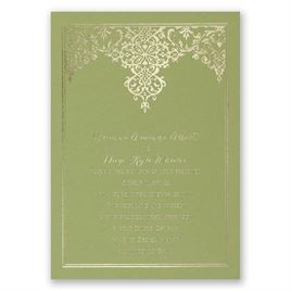 Demure Damask - Olive - Foil Invitation