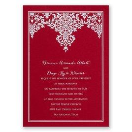 Demure Damask - Red - Foil Invitation