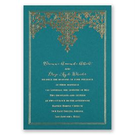Demure Damask - Teal - Foil Invitation