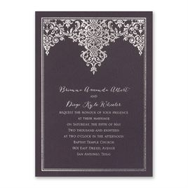 Demure Damask - Eggplant - Foil Invitation