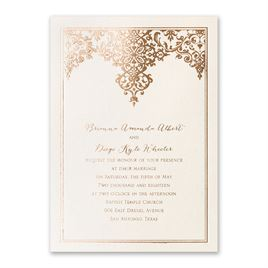 Demure Damask - Foil Invitation