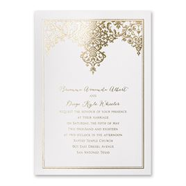 Demure Damask - White Shimmer - Foil Invitation