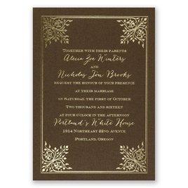 Forever Flourish - Brown Shimmer - Foil Invitation