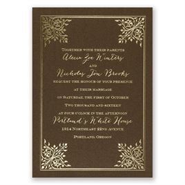 Forever Flourish - Brown Shimmer - Foil Invitation