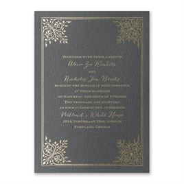 Forever Flourish - Black Shimmer - Foil Invitation