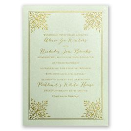Forever Flourish - Pistachio Shimmer - Foil Invitation
