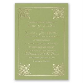 Forever Flourish - Olive - Foil Invitation