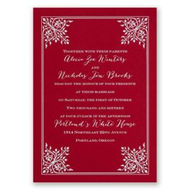 Forever Flourish - Red - Foil Invitation