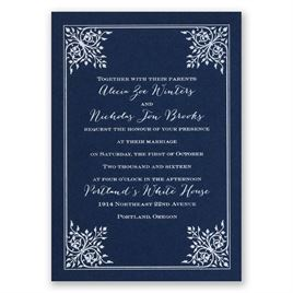 Forever Flourish - Navy - Foil Invitation