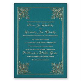 Forever Flourish - Teal - Foil Invitation