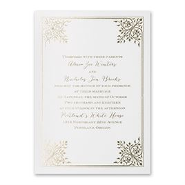 Forever Flourish - White Shimmer - Foil Invitation