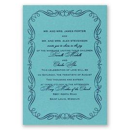 Calligraphy Border - Aqua Shimmer - Foil Invitation