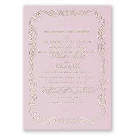 Calligraphy Border - Pink - Foil Invitation