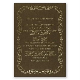 Calligraphy Border - Brown Shimmer - Foil Invitation