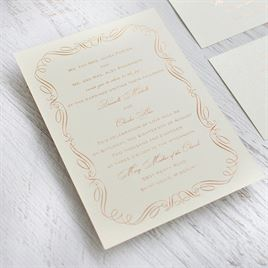Calligraphy Border - Black Shimmer - Foil Invitation