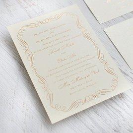 Calligraphy Border - Black Shimmer - Foil Invitation