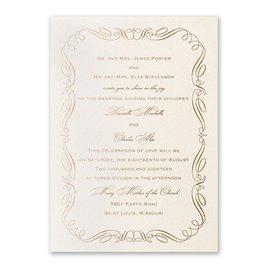 Calligraphy Border - Ecru Shimmer - Foil Invitation
