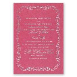 Calligraphy Border - Fuchsia Shimmer - Foil Invitation