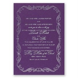 Calligraphy Border - Purple Shimmer - Foil Invitation