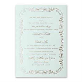 Calligraphy Border - Mist Shimmer - Foil Invitation