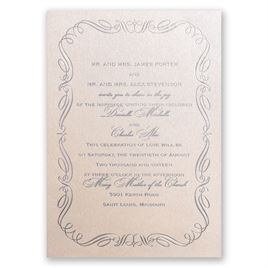 Calligraphy Border - Blush Shimmer - Foil Invitation