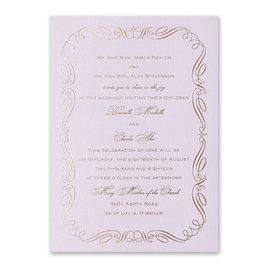 Calligraphy Border - Lilac Shimmer - Foil Invitation
