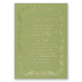 Calligraphy Border - Olive - Foil Invitation