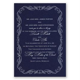 Calligraphy Border - Navy - Foil Invitation