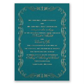 Calligraphy Border - Teal - Foil Invitation