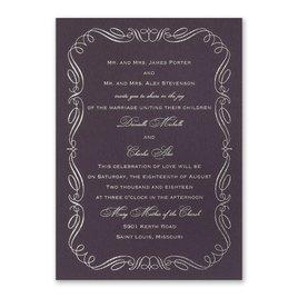 Calligraphy Border - Eggplant - Foil Invitation