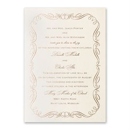 calligraphy border foil invitation - Fancy Wedding Invitations