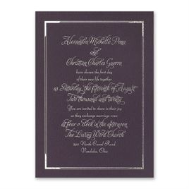 Looking Sharp - Eggplant - Foil Invitation