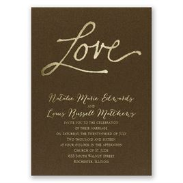 Pure Love - Brown Shimmer - Foil Invitation