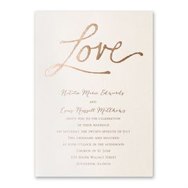 Pure Love - Ecru Shimmer - Foil Invitation
