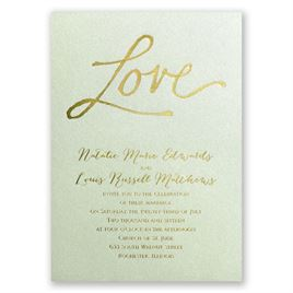 Pure Love - Pistachio Shimmer - Foil Invitation