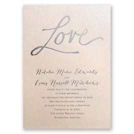Pure Love - Blush Shimmer - Foil Invitation