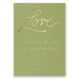 Pure Love - Olive - Foil Invitation
