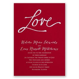 Pure Love - Red - Foil Invitation