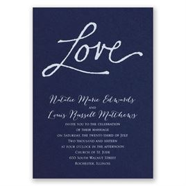 Pure Love - Navy - Foil Invitation