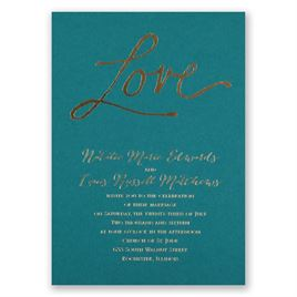 Pure Love - Teal - Foil Invitation