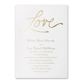 Pure Love - White Shimmer - Foil Invitation