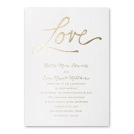 Pure Love - White Shimmer - Foil Invitation