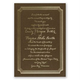 Impressive Borders - Brown Shimmer - Foil Invitation
