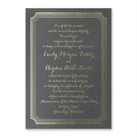 Impressive Borders - Black Shimmer - Foil Invitation