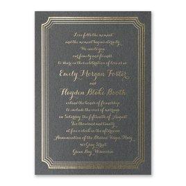 Impressive Borders - Black Shimmer - Foil Invitation