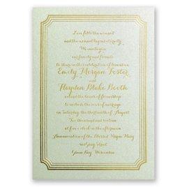 Impressive Borders - Pistachio Shimmer - Foil Invitation