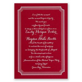 Impressive Borders - Red - Foil Invitation